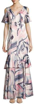 Kay Unger Women's Swirl-Print Cold-Shoulder Tiered Gown