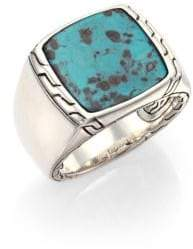 John Hardy Batu Classic Chain Turquoise& Sterling Silver Signet Ring