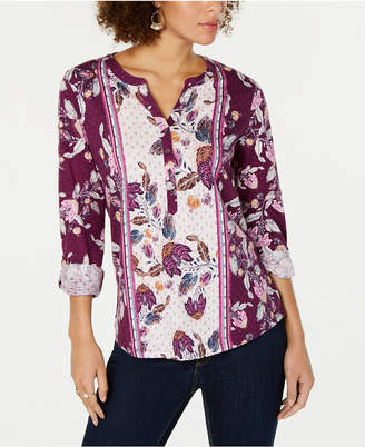 Style&Co. Style & Co Printed Split-Neck Roll-Tab Top
