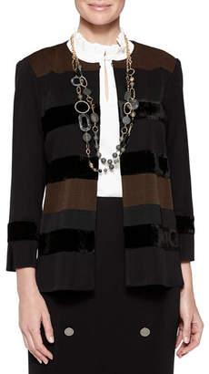 Misook Plus Size Velvet Stripe Jacket