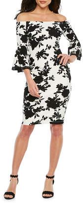 e1c0d30f88 PREMIER AMOUR Premier Amour 3 4 Sleeve Off The Shoulder Floral Sheath Dress