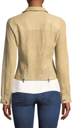 Jakett Perforated Lamb Leather Jean Jacket