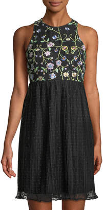 Julia Jordan Embroidered Tulle-Skirt Mini Dress