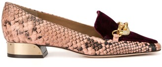 Tory Burch Jessa 25mm snake-effect loafers