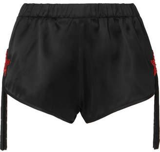 d62c625569044e Saint Laurent Tasseled Bead-embellished Satin Shorts - Black