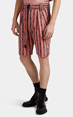 Sacai Men's Floral-Embroidered Cotton Corduroy Shorts - Pink