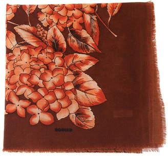 Belle Epoque L'illustration Rodier Chestnut Flower Motif Wool Scarf