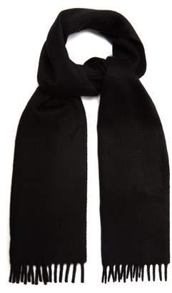 Prada Logo Embroidered Cashmere Scarf - Mens - Black