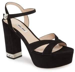 Miu Miu Jeweled Heel Platform Sandal