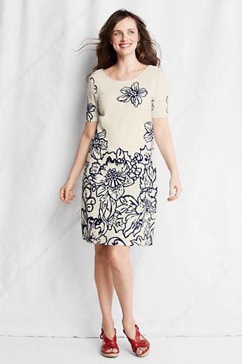 Lands' End Women's Regular Pattern Slub French Terry T-shirt Dress
