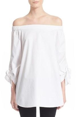Women's Tibi Off The Shoulder Cotton Tunic $295 thestylecure.com