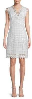 ABS by Allen Schwartz Embroidered Lace A-Line Dress