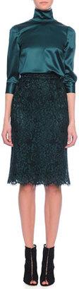 Dolce & Gabbana 3/4-Sleeve Satin Blouse, Emerald