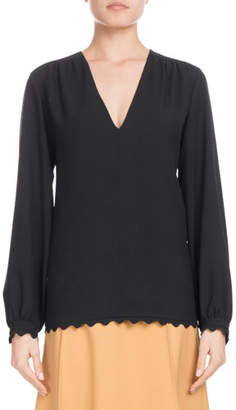 Chloé V-Neck Long-Sleeve Scallop-Hem Light-Cady Blouse