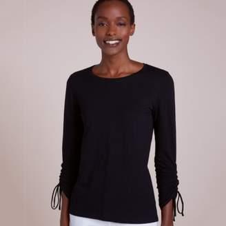 ca9b41cc6 The White Company Cotton Ruched Sleeve T-Shirt, Black, 8