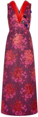DELPOZO Jacquard Dress with Tulle Detail