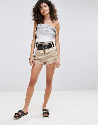 Asos Design Belted High Waist Shorts