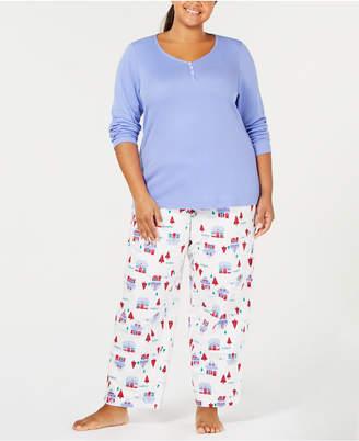 Charter Club Plus Size Cotton Pajama Set