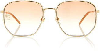 Gucci Hexagonal Gold-Tone Sunglasses