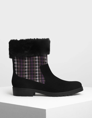 Charles & Keith Furry Cuff Printed Boots