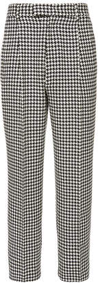 Alexander McQueen Houndstooth Pleated Wool Trouser Size: 46