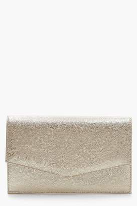 boohoo Textured Envelope Clutch With Chain