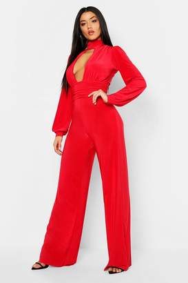 65956429413e boohoo Red Wide Leg Trousers For Women - ShopStyle Australia