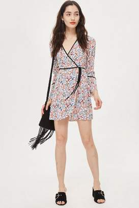 Topshop Petite Print Wrap Mini Dress