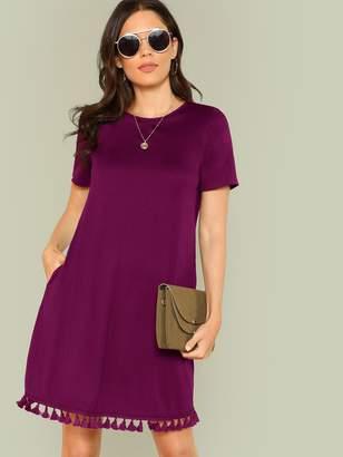 Shein Tassel Hem Side Pocket Tee Dress