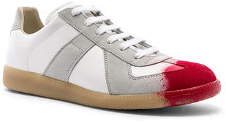 Maison Margiela Replica Low Top Sneakers in White & Red | FWRD