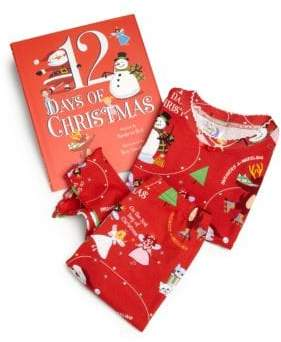Books To Bed Toddler's& Little Girl's Three-Piece 12 Days of Christmas Pajamas& Book Set