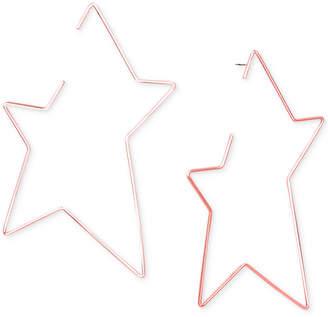 Steve Madden Rose Gold-Tone Open Star Drop Earrings