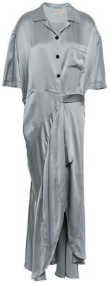 Burberry Fluted Silk-satin Midi Wrap Dress