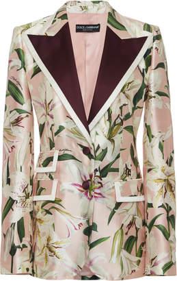 Dolce & Gabbana Floral-Print Silk-Blend Satin Blazer Size: 36