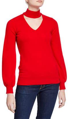 Neiman Marcus Cashmere High-Neck Cutout Blouson-Sleeve Sweater