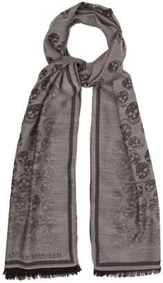 Alexander McQueen Skull-jacquard wool and silk-blend scarf