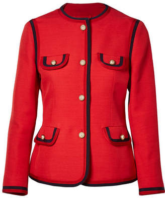 Gucci Faux Pearl-embellished Wool And Silk-blend Jacket - Red