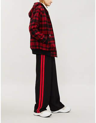 The Kooples Checked wool-blend hooded jacket
