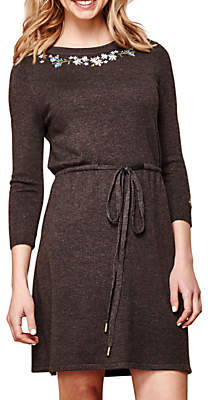 Yumi Floral Embroidery Knit Dress, Dark Grey