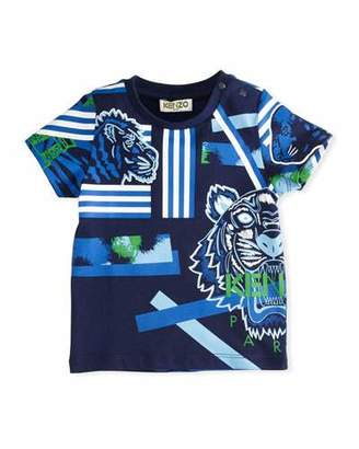 Kenzo Multi-Icon Tiger Striped T-Shirt, Navy, Size 12-18 Months