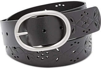 Fossil Floral Perforated Leather Belt