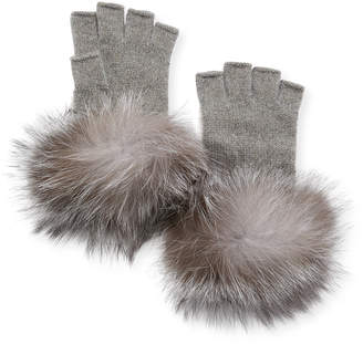 Neiman Marcus Metallic Knit Fingerless Gloves w/ Fur Cuffs