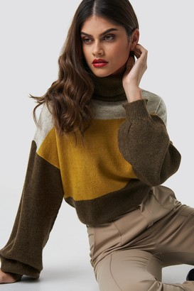 Na Kd Trend Color Blocked High Neck Knitted Sweater Grey