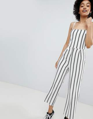 Bershka stripe wide leg jumpsuit in cream