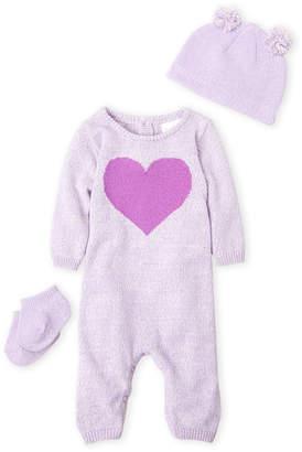 Cuddl Duds Newborn Girls) 3-Piece Heart Romper, Pom-Pom Hat & Socks Set