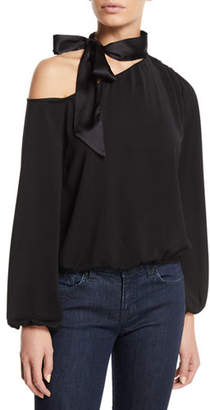Ramy Brook Seneca One-Shoulder Tie-Neck Blouson Top
