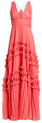 Halston Sleeveless Pleated Georgette Gown
