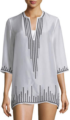 Neiman Marcus Marie France Van Damme Embroidered Chiffon Short Tunic Coverup