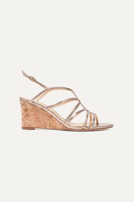 Alexandre Birman Paolla Metallic Leather Wedge Sandals - Gold