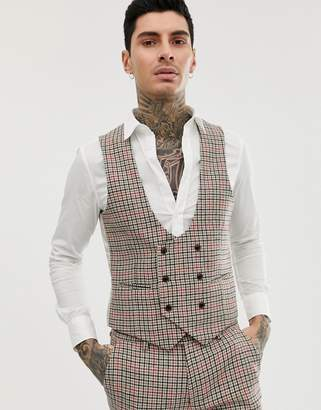 skinny fit small check waistcoat curved